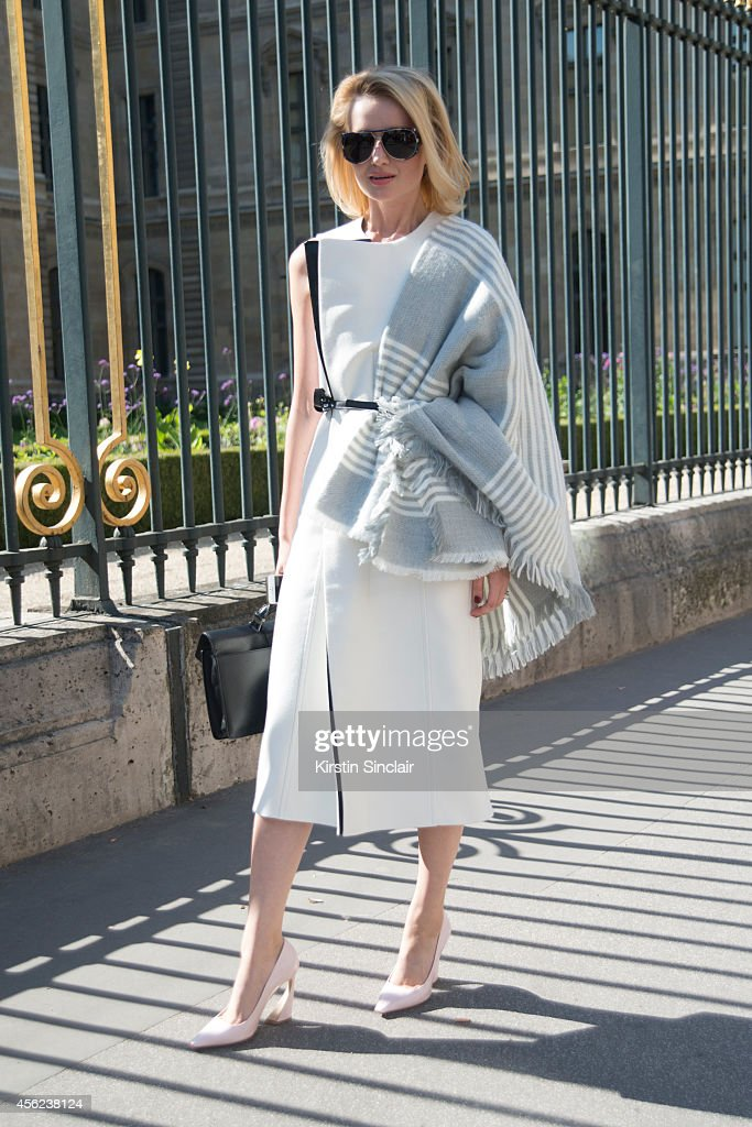 Art Director and Consultant Kate Korobova is wearing a Calvin and Klein dress and Dior shoes on day 4 of Paris Collections Women on September 26 2014...