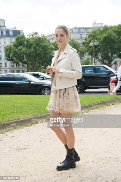 PARIS FRANCE JULY 3 Art director and Fashion consultant Sofia Sanchez de Betak wears a Dior jacket and dress day 2 of Paris Haute Couture Fashion...