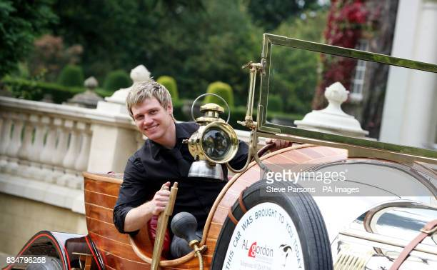 Art director and set decorator Gordon Grant from Glasgow Scotland sits in a replica of the car from Chitty Chitty Bang Bang outside Pinewood Studio's...