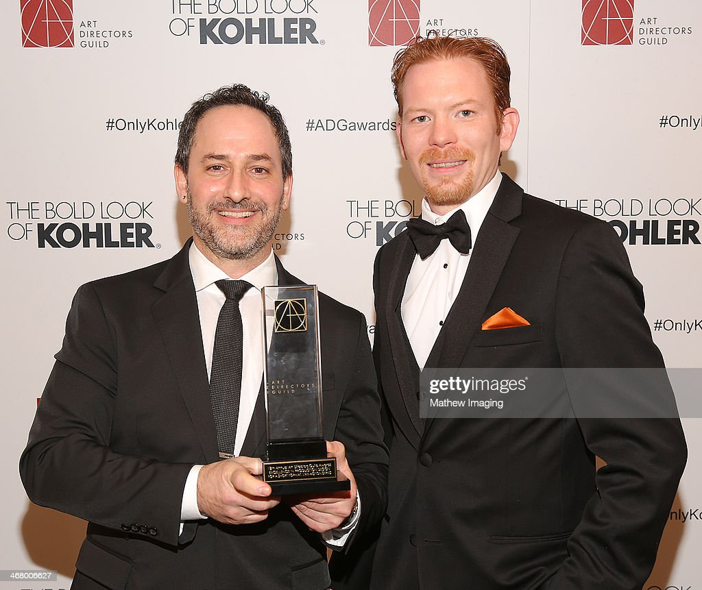 Art Director Brian Kane and Art Director Tyler Harron receive the award for Excellence in Production Design for an Episode of a Short Format, Live-Action Series 2013 - Battlestar Galactica: Blood and Chrome 'Pilot' at the 18th Annual ADG Awards held at The Beverly Hilton Hotel on February 8, 2014 in Beverly Hills, California.