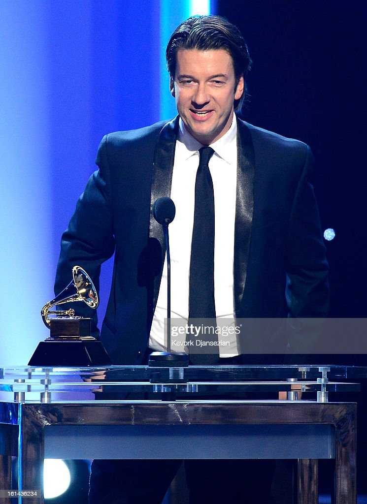 Art director Fritz Klaetke, winner of Best Boxed Or Special Limited Edition Package, onstage at the The 55th Annual GRAMMY Awards at Staples Center on February 10, 2013 in Los Angeles, California.