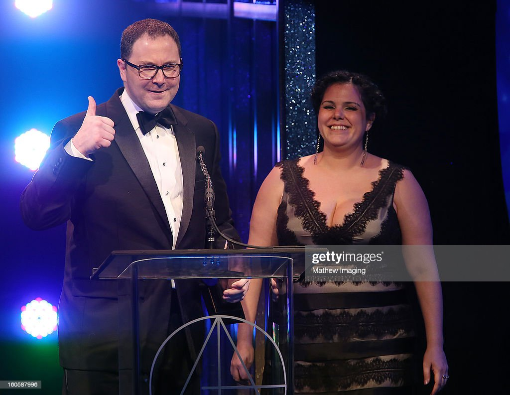 Art Director Joe Celli and Assistant Art Director Gloria Lamb receive the award for Excellence in Production Design for an Awards, Music or Game Show 2012 - The 84th Annual Academy Awards onstage at The 17th Annual Art Directors Guild Awards, held at the Beverly Hilton Hotel on February 2, 2013 in Beverly Hills, California.