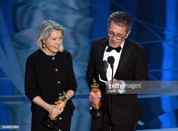 Art director Sandy ReynoldsWasco and production designer David Wasco accept Best Production Design for 'La La Land' onstage during the 89th Annual...