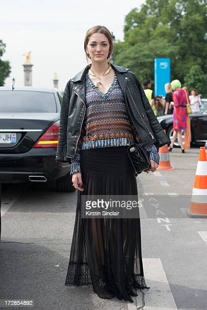 Art Director Sofia Sanchez Barrenechea wears a vintage jacket Georg Jensen Necklace Chanle top bag and shoes on day 2 of Paris Collections Womens...