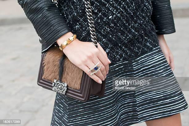 Art Director Sofia Sanchez Barrenechea wears all Chanel on day 8 of Paris Fashion Week Spring/Summer 2014 Paris October 01 2013 in Paris France