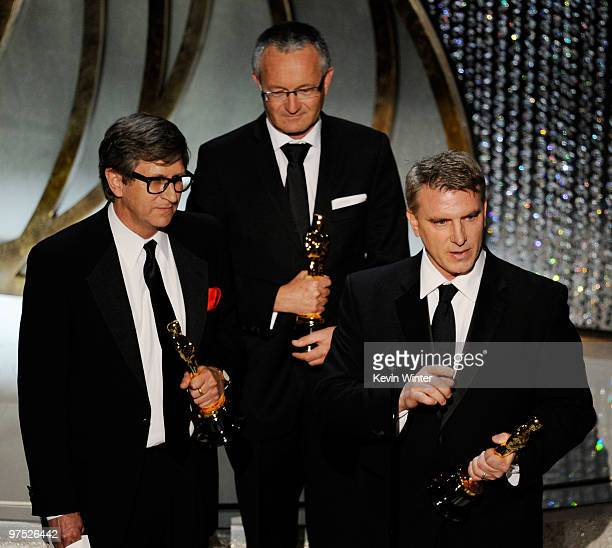 Art directors Rick Carter Kim Sinclair and Robert Stromberg accept Best Art Direction award for 'Avatar' onstage during the 82nd Annual Academy...