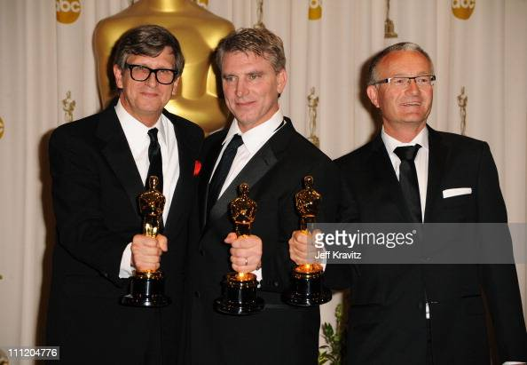 Art Directors Rick Carter Robert Stromberg and Kim Sinclair pose in the press room at the 82nd Annual Academy Awards held at Kodak Theatre on March 7...