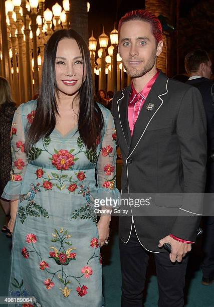 Art Film Gala cochair and LACMA Trustee Eva Chow wearing Gucci and actor Jared Leto wearing Gucci attend LACMA 2015 ArtFilm Gala Honoring James...