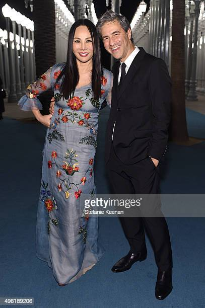 Art Film Gala cochair and LACMA Trustee Eva Chow wearing Gucci and LACMA director Michael Govan wearing Gucci attend LACMA 2015 ArtFilm Gala Honoring...