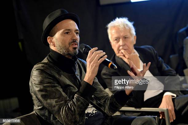 Art Foundation President Fulvio Gianaria and Samuel during the OGR press conference on September 29 2017 in Turin Italy