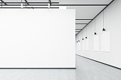 Art gallery with large white wall and several empty banners hanging on white wall. Concrete floor. Concept of an art exhibition. 3d rendering. Mock up.