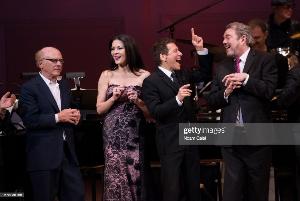 Art Garfunkel, Catherine Zeta-Jones, Michael Feinstein and Jimmy Webb perform during a tribute concert honoring Jimmy Webb at Carnegie Hall on May 3, 2017 in New York City.
