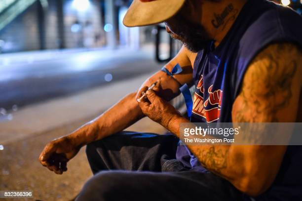 Art Gutierrez injects a shot of heroin on Thursday July 20 in Philadelphia PA Gutierrez who grew up in California has been using heroin for two year...