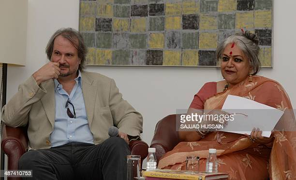 Art historian and the founder of the Pinacotheque de Paris museum Marc Restellini and exhibition curator Dr Alka Pande speak during a press...