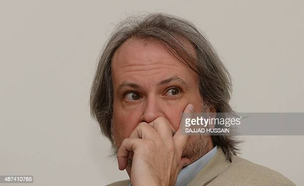 Art historian and the founder of the Pinacotheque de Paris museum Marc Restellini looks on during a press conference to announce the launch of 'The...