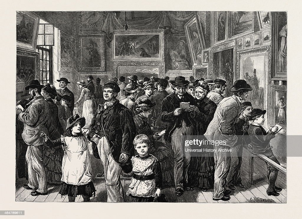 Art In Whitechapel Loan Exhibition Of Pictures In St Jude's School House Commercial Street London Engraving 1884 UK Britain British Europe United...