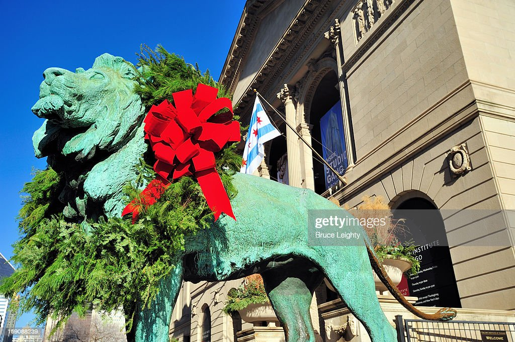 Art Institute Lion at Christmas