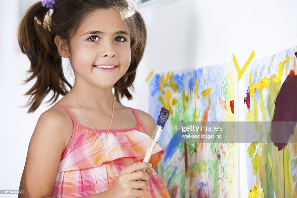 Art lessons for kids at home : Stockfoto