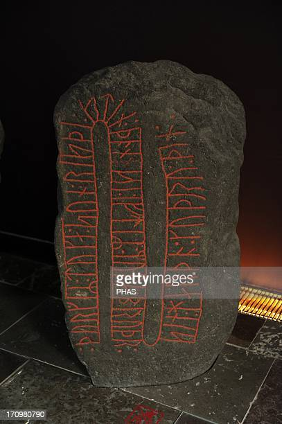 Art Metal Age Germanic Viking Age Northern Europe Asferg 1000 AD Runestone Dedication to a deceased man Thorger Toke's son raised this stone in...