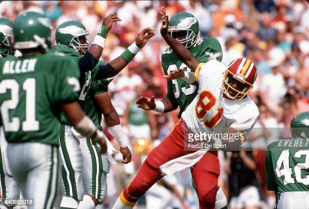 Art Monk of the Washington Redskins in action against the Philadelphia Eagles during an NFL football game September 17 1989 at RFK Stadium in...