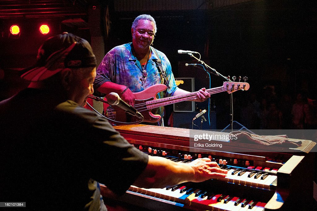 Art Neville and George Porter Jr. of The Funky Meters performs at Tipitina's on September 27, 2013 in New Orleans, Louisiana.