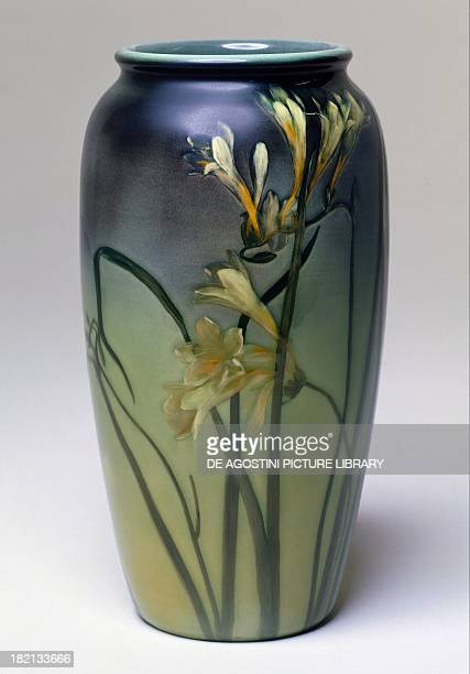 Art Nouveau style vase with floral decoration Rookwood Pottery manufacture Cincinnati Ohio United States of America 20th century London Victoria And...