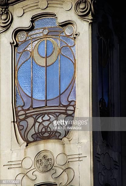 Art Nouveau style window FenoglioLafleur house in Turin designed by Pietro Fenoglio Italy 20th century
