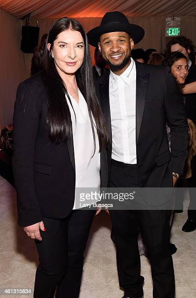 Art of Elysium creative visionary Marina Abramovic and recording artist Usher attend the Art of Elysium and Samsung Galaxy present Marina Abramovic's...