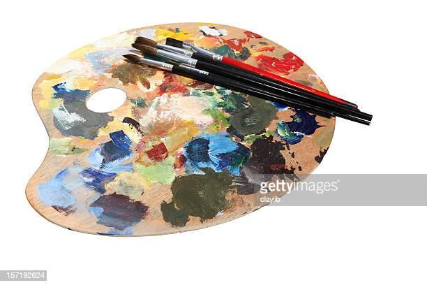 Moderne Farbpalette und Pinsel mit path
