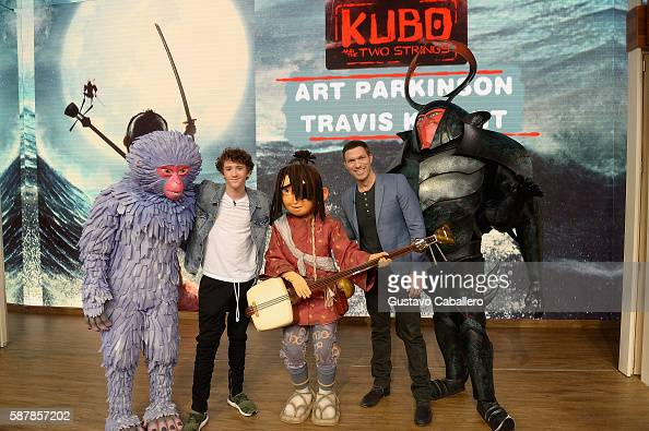 Art Parkinson and Travis Knight are seen on the set of Univisions 'Despierta America' to support the film 'Kubo and the Two Strings' at Univision...