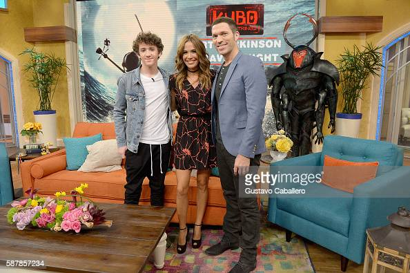 Art Parkinson Karla Martinez and Travis Knight are seen on the set of Univisions 'Despierta America' to support the film 'Kubo and the Two Strings'...