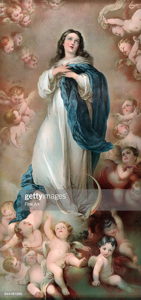 Art reproduction of the Immaculate Conception of the Escorial by Bartolome Esteban Murillo offered as a premium by B.T. Babbitt, soap and baking powder company of New York. Circa 1896. 73 x 35 cm.