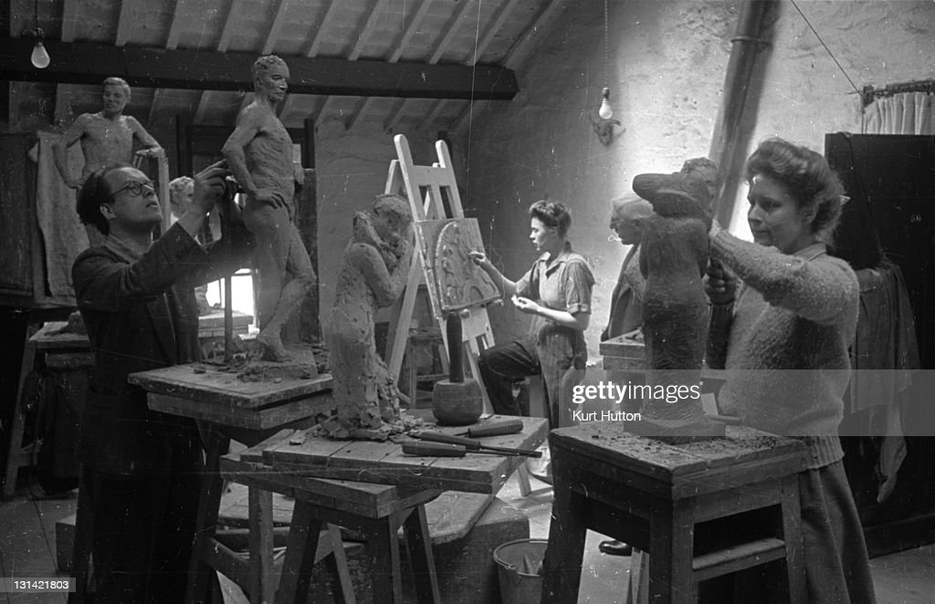 Art students from the Royal College of Art making sculptures at a studio in Ambleside Lake Windermere Cumbria 3rd July 1943 Original Publication...