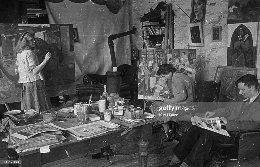 Art students from the Royal College of Art painting at a studio in Ambleside Lake Windermere Cumbria 3rd July 1943 Original Publication Picture Post...