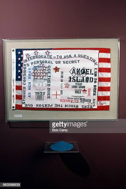 Art work by Flo Oy Wong entitled 'made in usaAngel Island Shhh' displayed in exhibit at the Japanese American National Museum in Little Tokyo