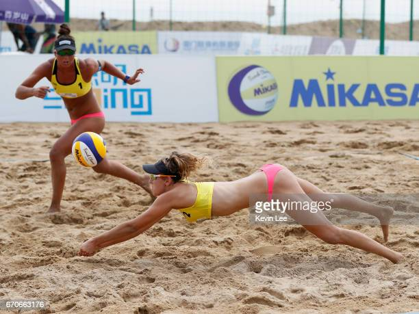Artacho Del Solar and Brittany Kendall of Australia in action at the FIVB World Tour Beach Volleyball Xiamen Open 2017 on April 20 2017 in Xiamen...