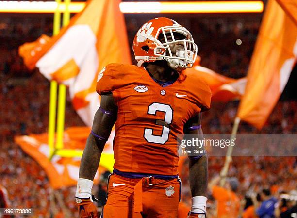Artavis Scott of the Clemson Tigers celebrates after the Tigers scored a touchdown during their game against the Florida State Seminoles at Memorial...