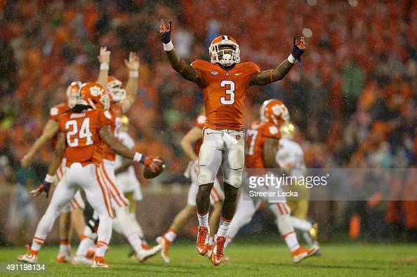Artavis Scott of the Clemson Tigers reacts after the Tigers defeated the Notre Dame Fighting Irish 2422 during their game at Clemson Memorial Stadium...