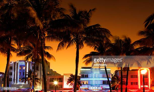 art-deco hotels and restaurants in South Beach, Miami during sunset