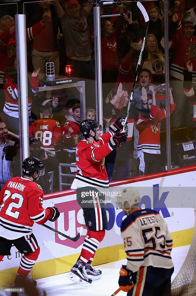 Artem Anisimov of the Chicago Blackhawks celebrates his third period goal against the Edmonton Oilers at the United Center on November 8 2015 in...