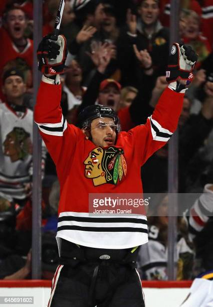 Artem Anisimov of the Chicago Blackhawks celebrates his third period goal against the St Louis Blues at the United Center on February 26 2017 in...