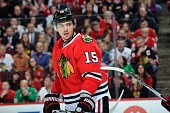 Artem Anisimov of the Chicago Blackhawks looks across the ice in the first period of the NHL game against the Los Angeles Kings at the United Center...