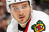 Artem Anisimov of the Chicago Blackhawks looks on during an NHL game against the Ottawa Senators at Canadian Tire Centre on December 3 2015 in Ottawa...