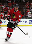 Artem Anisimov of the Chicago Blackhawks participates in warmups before a preseason game against the Detroit Red Wings at the United Center on...