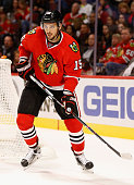 Artem Anisimov of the Chicago Blackhawks plays in the game against the New York Islanders at the United Center on October 10 2015 in Chicago Illinois