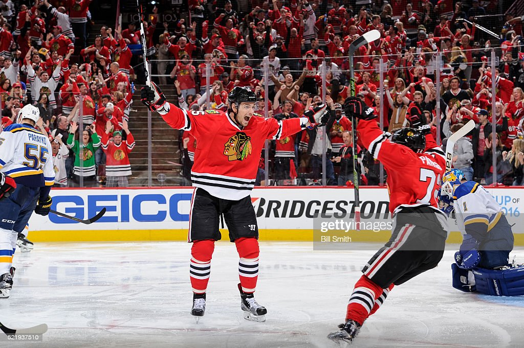 <a gi-track='captionPersonalityLinkClicked' href=/galleries/search?phrase=Artem+Anisimov&family=editorial&specificpeople=543215 ng-click='$event.stopPropagation()'>Artem Anisimov</a> #15 of the Chicago Blackhawks reacts after scoring against the St. Louis Blues in the second period of Game Three of the Western Conference Quarterfinals during the 2016 NHL Stanley Cup Playoffs at the United Center on April 17, 2016 in Chicago, Illinois.