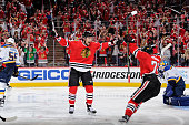Artem Anisimov of the Chicago Blackhawks reacts after scoring against the St Louis Blues in the second period of Game Three of the Western Conference...