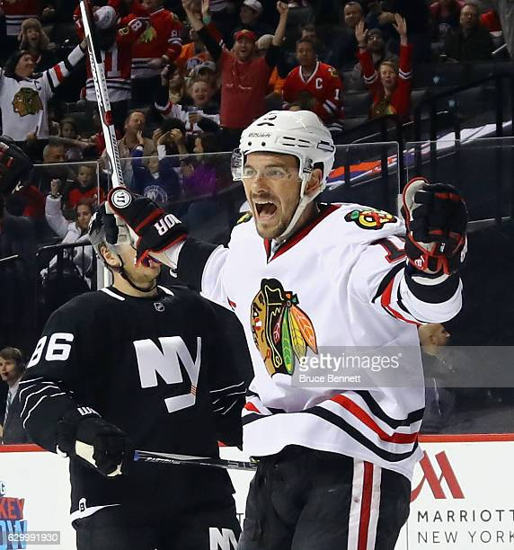 Artem Anisimov of the Chicago Blackhawks scores at 1503 of the first period against the New York Islanders at the Barclays Center on December 15 2016...