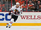 Artem Anisimov of the Chicago Blackhawks skates against the Philadelphia Flyers on October 14 2015 at the Wells Fargo Center in Philadelphia...