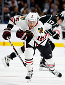 Artem Anisimov of the Chicago Blackhawks skates during a game against the Los Angeles Kings at Staples Center on November 28 2015 in Los Angeles...